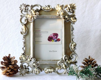 Vintage jewelled picture frame, ornaments photo frame, baroque frame silver, rhinestone picture frame, wedding favor, christmas women gift