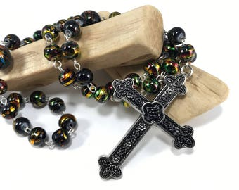 Black and Gold Rosary; Black Rosary; Beaded Traditional Catholic Rosary