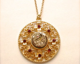 Steampunk Gildtone Filigree Necklace, Vintage Ruby Jeweled Watch Movement Necklace, Ruby Rhinestones Goldtone Pendant, Romantic Gift for Her