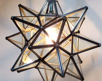Moravian Star Pendant Light, Clear Glass, 12""
