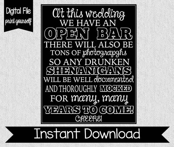 Open bar sign wedding open bar sign drunken shenanigans open bar sign wedding open bar sign drunken shenanigans instant download open bar digital funny open bar sign wedding decor solutioingenieria Gallery