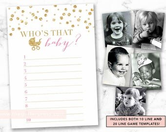 Guess Who's that baby printable, Baby photo picture shower game, gold confetti, gold and pink shower game, INSTANT DOWNLOAD 008