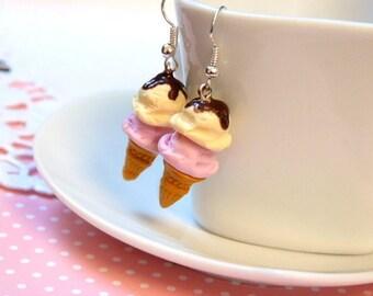 Earrings gourmet Vanilla Strawberry ice cream