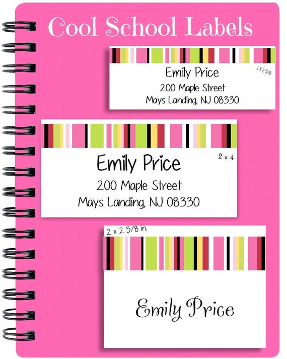 School Stickers, School Labels, Striped Labels, Back to School, Personalized Stickers, Personalized Labels, Tags, Pink, Green