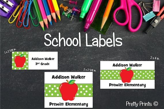Apple Stickers, Apple Labels, School Labels, Back to School, Personalized Stickers, Personalized Labels, Red Apple, Labels, Tags