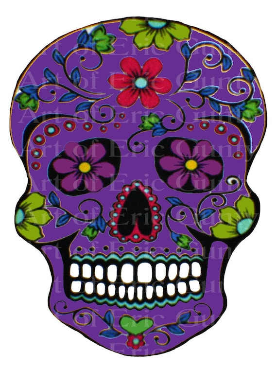 Purple Sugar Skull Halloween Birthday - Edible Cake and Cupcake Topper For Birthday's and Parties! - D22658