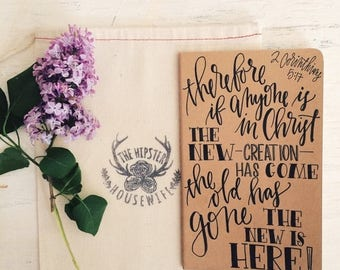 ON SALE Personalized prayer journal, recovery journal, 2 Corinthians 5:17, the old has gone the new is here, scripture gift