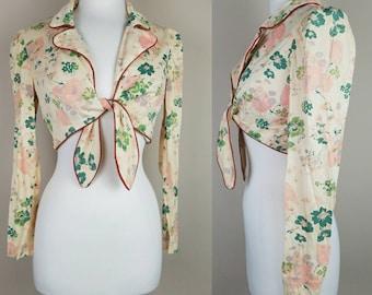 1970s vintage crop top | ties front | floral