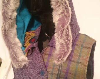 RESERVED Harris tweed and purple tweed hooded tail coat with matching wrist warmers