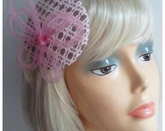 "Headpiece, fascinator ""rose and caramel"""