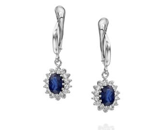 Blue Sapphire Earrings-Diana Style Earrings-Diamond Earrings with Sapphire-Sapphire Drop Earrings-Women's Jewelry-vintage earrings -