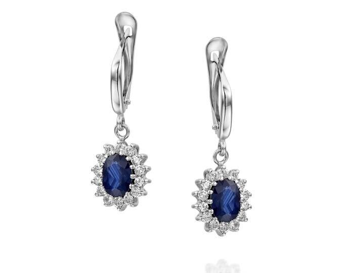 Blue Sapphire Earrings-Diana Style Earrings-Diamond Earrings with Sapphire-Sapphire Drop Earrings-Women's Jewelry-vintage earrings -