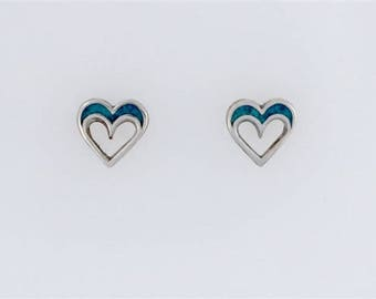 Sterling Silver Turquoise Cutout Heart Post or Stud Earrings