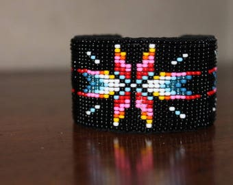 Ethnic handwoven multicolor black beaded bracelet