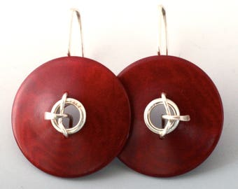 Bright Red Tagua Nut and Hand Forged Sterling Silver Earrings