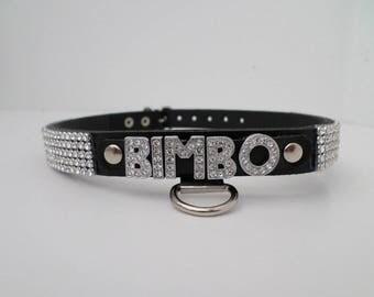 bimbo collar with diamante letters and rhinestone trim 16mm wide