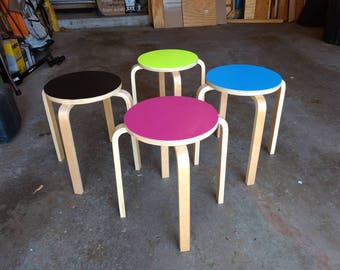 Aalvar Aalto Style Bent Plywood Stacking Tables/Stools
