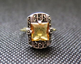 Art Deco Ring In Silver And Gold With Geometric Cut Citrine And Marcasite Size O / 7 Genuine Art Deco