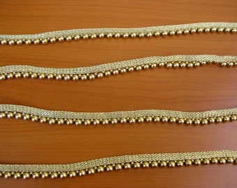 6 meters.Golden beaded lace, trim, border.(395 inches approx.)
