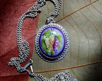 Oval Grape Pendant  Russian Enamel Jewelry