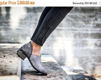 SALE Leather Boots, Grey Boots, Handmade Boots, Ankle Boots, Booties, Heeled Boots, Leather Shoes, Cut Out Boots, Winter Shoes, Nicola