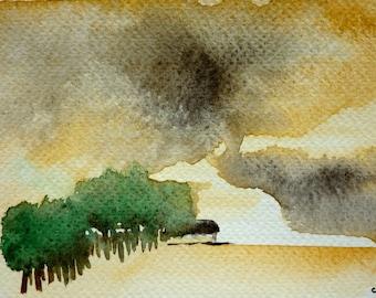 Stormy sky - unique and original watercolor - 2013
