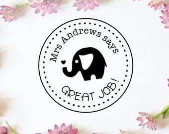 "Great Job Stamp, Custom Teacher Name Stamp, Personalised Teacher Stamp, Teacher Gift, Classroom Stamp, Elephant Stamp, 1.8""x1.8"" (cts169)"