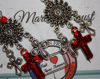 Earrings metal and rhinestone cross