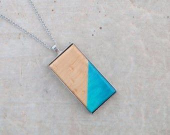 Rectangle pendant wood of Quebec hand painted - Wooden jewelery - Geometric pattern gradient turquoise - stainless steel chain