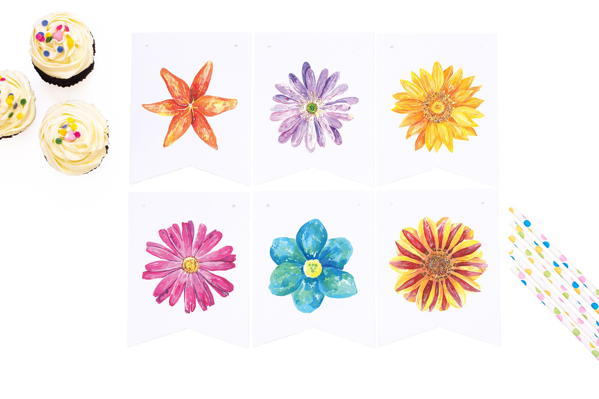 floral paper banner wall hanging colourful party decorations baby