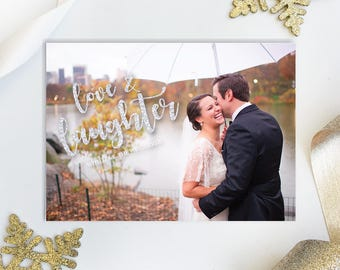 Love and Laughter Holiday Card Married Christmas Wedding Photo Holiday Christmas Just Married Newlywed Christmas | Digital OR Printed