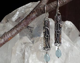 Tag Earrings with Leaves and Aquamarine drops.