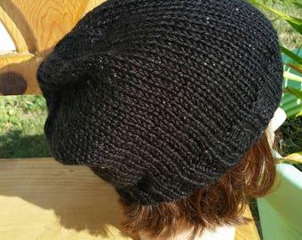 Knit slouchy Hat, Knit Beanie, snowboarding hat, Slouch Hat, Black Slouchy Beanie, Slouchy, Slouchy hat, Black sparkle  Slouchy Style hat