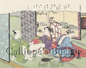 Love and moxibustion - 灸をする間のせわしき恋, From the series: The Amorous Adventures of Mane'emon, Shunga Ukiyo-e woodblock print.