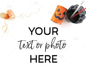 Halloween Themed Desk Mockup / Styled Stock Photography / Mockup / Styled Photo for Blog Website / Desk Mockup Halloween Twine and Pencils