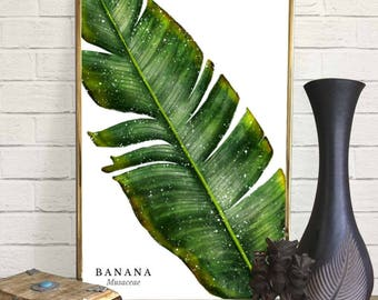 Banana Leaf Watercolor Print
