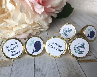 Whale baby shower favor sticker, Hershey kiss labels, Nautical baby shower favor label, hershey kiss stickers, little squirt baby shower