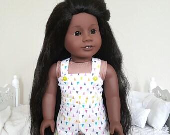 18 inch doll shortalls | white, rainbow overalls