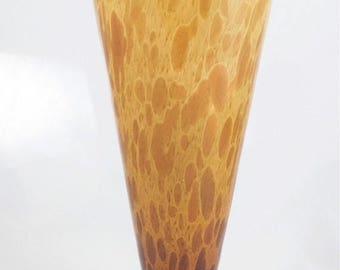 JUNESALE Vintage Murano Style Handblown Glass Vase Tortoise Shell with Gold Flecks Made in Italy
