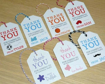 Kids Birthday Party Thank you gift tags - favour tags - Set 12 - car train moustache basketball soccer football butterfly flower teddy bear