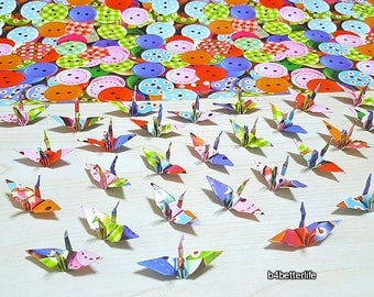 """Lot of 100pcs 1.5"""" """"BUTTON"""" Origami Cranes Hand-folded From 1.5""""x1.5"""" Paper. (WR paper series). #FC15-79."""