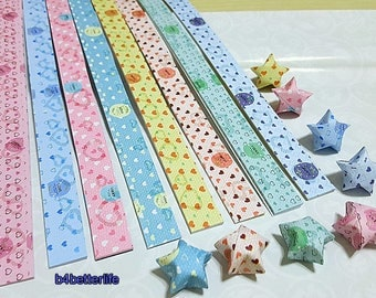 A Pack of 128 Strips DIY Origami Star Paper For Folding Medium Size Lucky Stars. 24.5x1.2cm. (XT paper series). #B093.