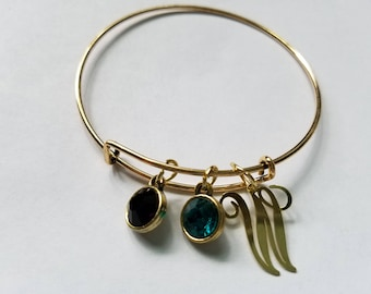 Gold Bangle Bracelet with Birthstones and Initail/Letter