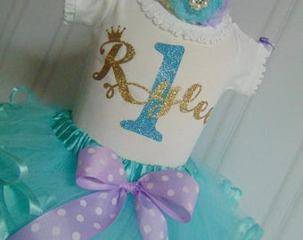 Purple and Aqua Birthday Outfit- Themed Onesie or T-shirt and Tutu Birthday Outfit. Cute Outfit Ages 6 Months to 4 Toddler