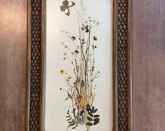 Homco 1976 faux wicker framed picture with butterfly