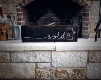 Wooden Sold Sign, Realtor Sold Sign, Wooden Sign, Sign, Sold Sign, Personalized Sign, Painted Sign, Personalized Wooden Sign, Closing Gift