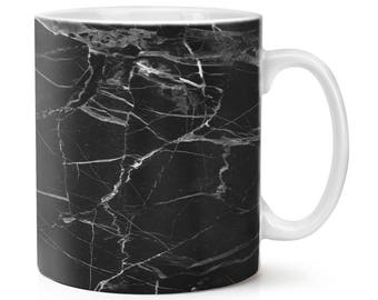 Black With White Veined Marble Effect 10oz Mug Cup