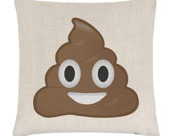 Poo Poop Emoji Linen Cushion Cover