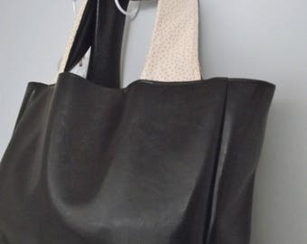 Faux leather tote bag * chocolate & stars *.