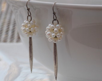 Pearl Cluster Sterling Silver Drop Earrings